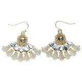 White & Gold-Tone Colored Metal Dangle-Earrings With Stone Accents #944