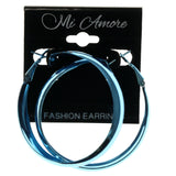 Blue Metal Hoop-Earrings #950