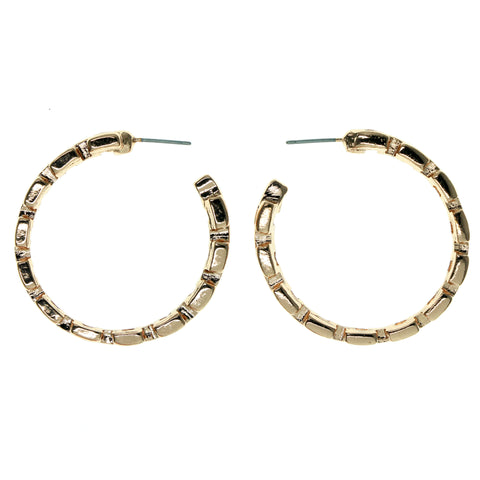 Chain Hoop-Earrings Gold-Tone Color  #951