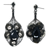 Black & Silver-Tone Colored Metal Dangle-Earrings With Crystal Accents #956