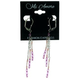 Silver-Tone & Purple Colored Metal Dangle-Earrings With Bead Accents #960
