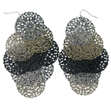 Silver-Tone & Gold-Tone Colored Metal Chandelier-Earrings #963