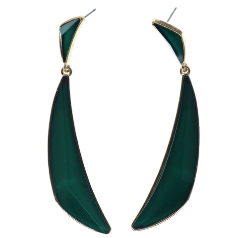 Green & Gold-Tone Colored Metal Dangle-Earrings With Faceted Accents #972