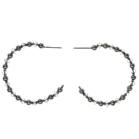 Silver-Tone & Clear Colored Metal Hoop-Earrings With Bead Accents #973