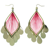 Gold-Tone & Pink Colored Metal Dangle-Earrings With Crystal Accents #976