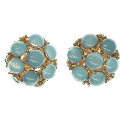 Blue & Gold-Tone Colored Metal Stud-Earrings With Bead Accents #980