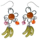 Flower Bananas Dangle-Earrings With Bead Accents Silver-Tone & Multi Colored #982