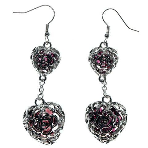 Heart Rose Dangle-Earrings With Bead Accents Silver-Tone & Purple Colored #984