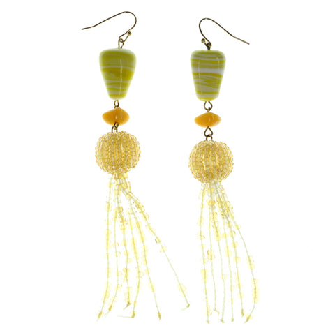 Yellow & Gold-Tone Colored Metal Dangle-Earrings With Bead Accents #986