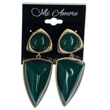 Gold-Tone & Green Colored Metal Dangle-Earrings With Faceted Accents #988