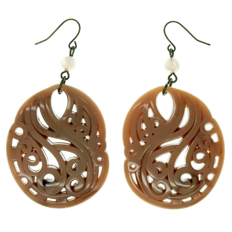 Peach & Gold-Tone Colored Acrylic Dangle-Earrings With Bead Accents #990