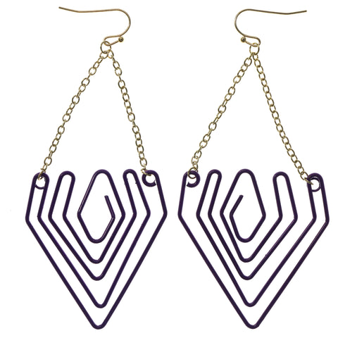 Purple & Gold-Tone Colored Metal Dangle-Earrings #992