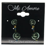 Green & Gold-Tone Colored Metal Dangle-Earrings With Bead Accents #995