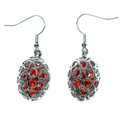 Heart Dangle-Earrings With Bead Accents Silver-Tone & Red Colored #997