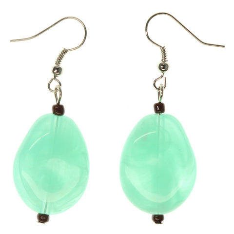 Green & Silver-Tone Colored Metal Dangle-Earrings With Stone Accents #1008