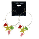 Rose Starfish Dangle-Earrings With Bead Accents Gold-Tone & Multi Colored #1014