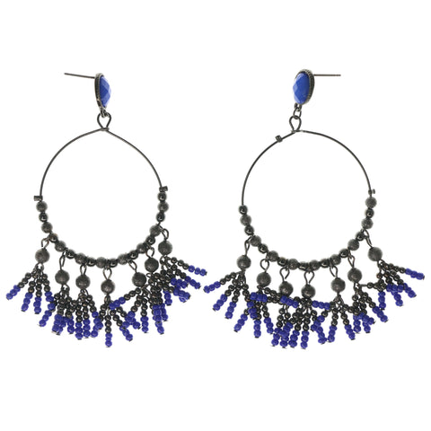 Black & Blue Colored Metal Dangle-Earrings With Bead Accents #1022