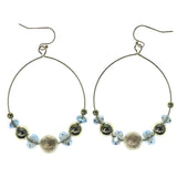 Gold-Tone & Blue Colored Metal Dangle-Earrings With Bead Accents #1024