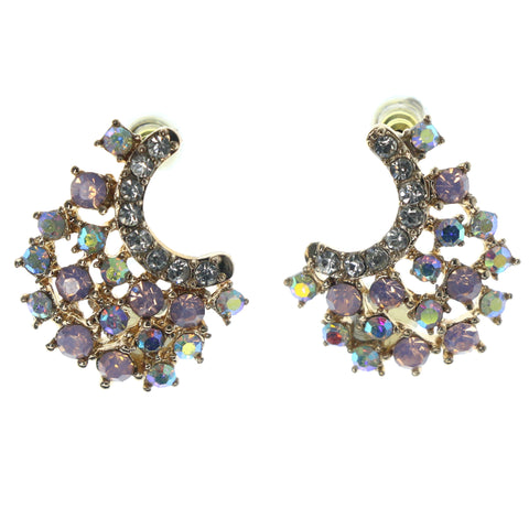 Gold-Tone & Multi Colored Metal Stud-Earrings With Crystal Accents #1025
