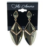Gold-Tone & Green Colored Metal Dangle-Earrings With Crystal Accents #1027