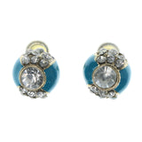 Blue & Gold-Tone Colored Metal Stud-Earrings With Crystal Accents #1029