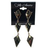 Black & Gold-Tone Colored Metal Dangle-Earrings With Bead Accents #1030