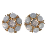 Blue & Gold-Tone Colored Metal Stud-Earrings With Bead Accents #1035