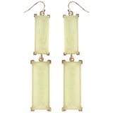 Dangle Earrings With Faceted Accents Green & Gold-Tone Colored #1037 - Mi Amore