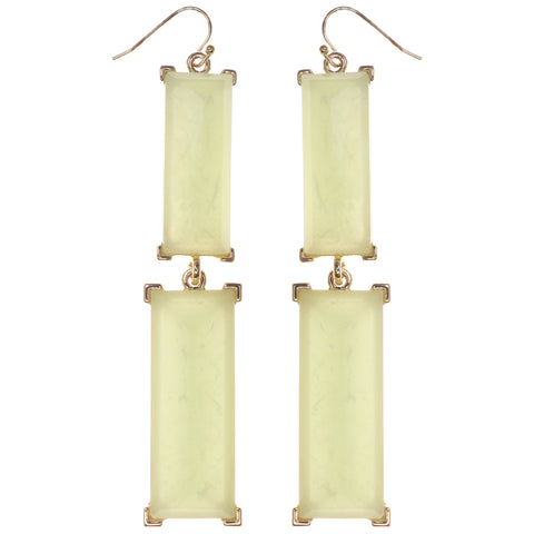 Dangle Earrings With Faceted Accents Green & Gold-Tone Colored #1037