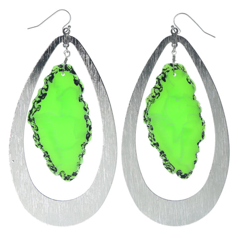 Silver-Tone & Green Colored Metal Dangle-Earrings With Stone Accents #1043
