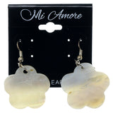 Shell Flower Dangle-Earrings White & Silver-Tone Colored #1045