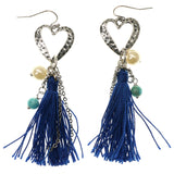 Heart Dangle-Earrings With Tassel Accents Silver-Tone & Blue Colored #1048
