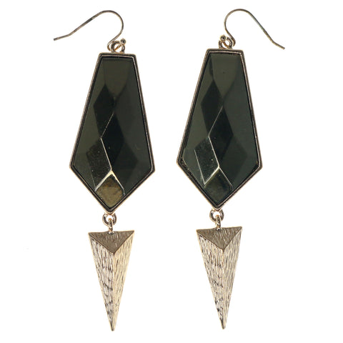Gold-Tone Metal Dangle-Earrings With Faceted Accents #1050
