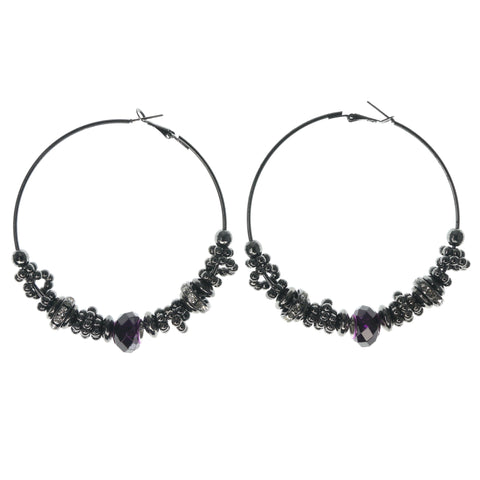 Silver-Tone & Purple Colored Metal Hoop-Earrings With Crystal Accents #1063
