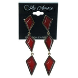 Red & Gold-Tone Colored Metal Dangle-Earrings With Bead Accents #1074