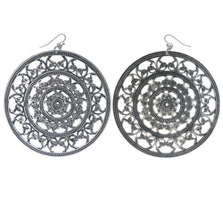Silver-Tone Metal Dangle-Earrings #1086