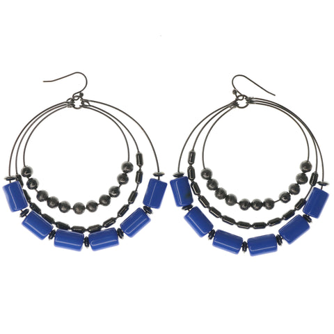 Blue & Black Colored Metal Dangle-Earrings With Bead Accents #1093