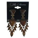 Brown & Gold-Tone Colored Metal Dangle-Earrings With Crystal Accents #1094