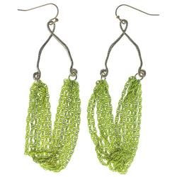 Gold-Tone & Green Colored Metal Dangle-Earrings #1096