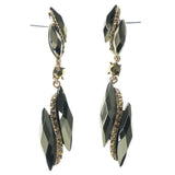 Gold-Tone & Black Colored Metal Dangle-Earrings With Faceted Accents #1101