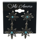 Flower Dangle-Earrings With Crystal Accents Silver-Tone & Blue Colored #1106