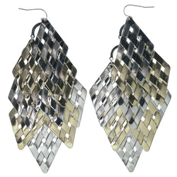 Gold-Tone & Silver-Tone Colored Metal Chandelier-Earrings #1114