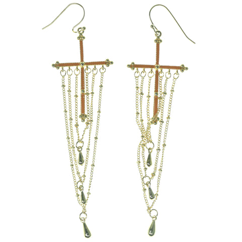 Cross Dangle-Earrings With Bead Accents Gold-Tone & Orange Colored #1118