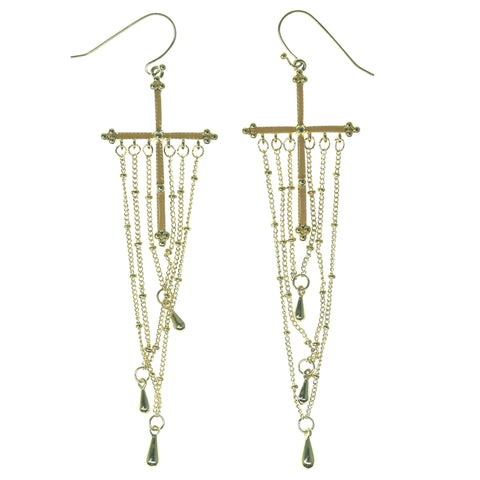 Cross Dangle-Earrings With Bead Accents Gold-Tone & Peach Colored #1121
