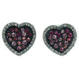 Heart Stud-Earrings With Crystal Accents Pink & Black Colored #1122