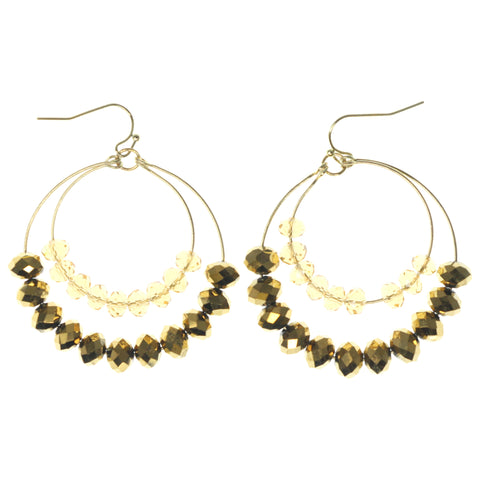 Gold-Tone & Yellow Colored Metal Dangle-Earrings With Faceted Accents #1132