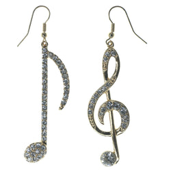 Music Note G Clef Dangle-Earrings With Crystal Accents Gold-Tone & Silver-Tone Colored #1133