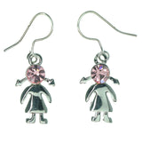 Girl Dangle-Earrings With Crystal Accents Silver-Tone & Pink Colored #1137