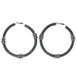 Silver-Tone Metal Hoop-Earrings With Crystal Accents #1141
