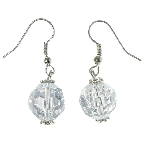 Silver-Tone & Clear Colored Metal Dangle-Earrings With Bead Accents #1142